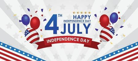 4 July Independence Day Balloons vector
