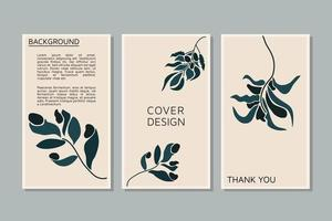 Botanical foliage plant leaf wall art vector set Foliage line art drawing with abstract shape Abstract Plant Art design for social media print cover wallpaper background Minimal and natural wallpaper