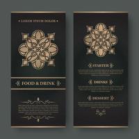 Luxury restaurant menu with elegant ornamental style vector