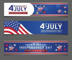 Set banner 4 July Independence Day vector