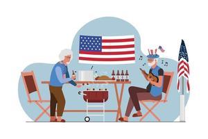 fiesta de ancianos 4 de julio día de la independencia vector