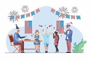 fiesta de ancianos y niños 4 de julio día de la independencia vector