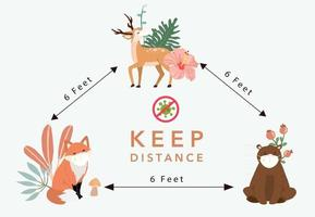 Cute animal social ditancing collection with fox vector