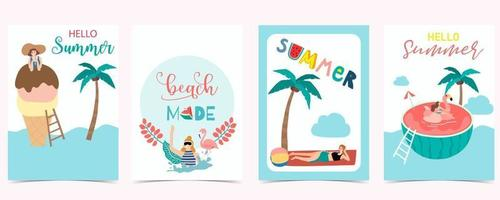 Collection of summer background set with people vector