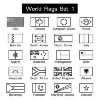 banderas del mundo set 1 estilo simple y diseño plano contorno grueso en blanco y negro vector