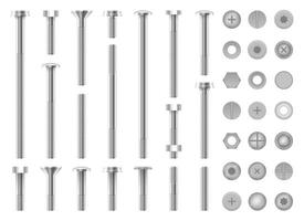 Set of metal screws nuts steel bolts and nails vector