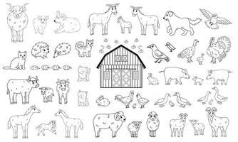 Set of outline cartoon farm animals vector