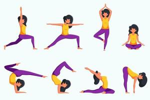 Woman practicing yoga set of different poses vector