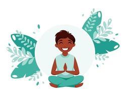 Black boy meditating in lotus pose Meditation and gymnastic for children vector