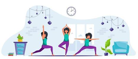 Woman doing yoga at home in cozy modern interior vector