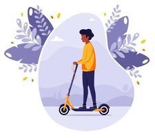 Black man riding electric kick scooter Modern Eco transport vector