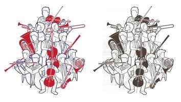 Outline Group of Musician Orchestra Instrument vector
