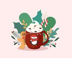 Christmas red mug and holly leaves  berries  Modern flat minimalistic design  Winter Cup coffee and tea vector