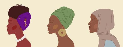 Group of cartoon black women in traditional headdresses vector