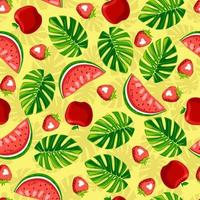 Seamless summer pattern Monstera strawberry apple on yellow background vector