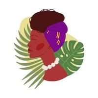 African woman in headdress near tropical plants vector design