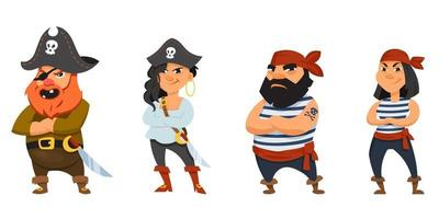 Male and female pirates with crossed arms vector