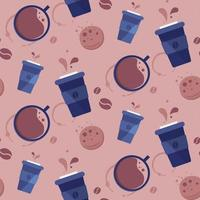 Seamless pattern with different coffee cuos vector