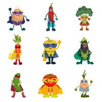 Collection of vegetable superheroes vector