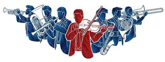 Silhouette Group of Musician Orchestra Instrument vector
