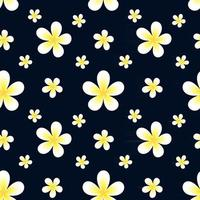 Bright floral background with frangipani flowers on a blue background  Floral vector illustration