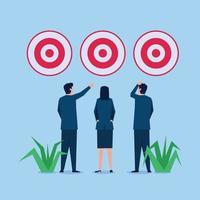 Business man and woman choose between three target vector