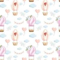 Vector seamless pattern with coral and purple hot air balloons  heart balloon  clouds  paper flags and flower compositions on white background  Cute nursery background