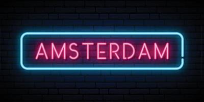Amsterdam neon sign vector