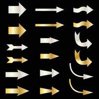 silver and gold metallic vector arrows