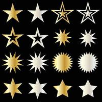 silver and gold metallic vector stars