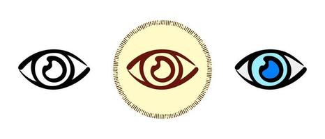 Eye outline and colors and retro symbols vector