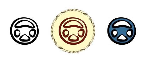 Outline and colors and retro symbols of a car steering wheel vector