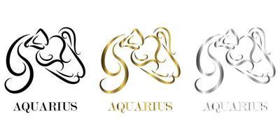 línea vector logo del atleta es signo del zodíaco acuario hay tres colores negro oro plata