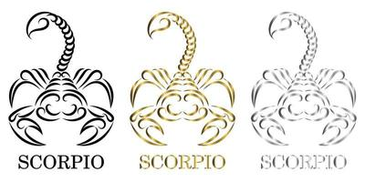 line vector logo of a scorpion It is sign of scorpio zodiac there are three color black gold silver