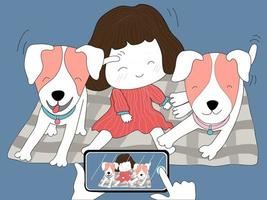 The dog family with the girls enjoying their poses for photos vector