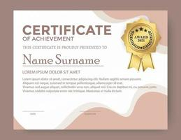Abstract wave style certificate template vector