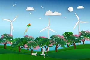 Back to nature and save the environment concept happy child playing kite in the meadow with dog paper art design vector