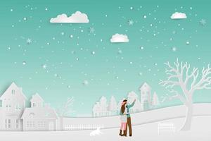 Concept of love in winter season couple standing on snow with urban countryside landscape vector illustration for Valentine Day Happy new year or Merry christmas