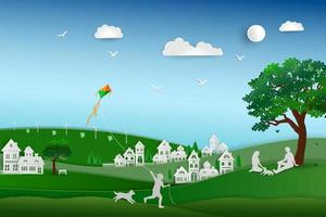 Back to nature and save the environment concept green energy eco friendly with solar and wind power family love the dog happy and relax in the meadow vector