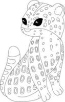 Jaguar Kids Coloring Page Great for Beginner Coloring Book vector