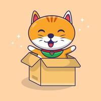 Cute Cat In the box cartoon funny cat play with box Cat cartoon Illustration Vector