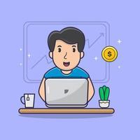 Man Working on Laptop cartoon vector illustration Man Mining Coin on laptop