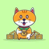 Cute cat Holding Coin Gold Cute Cat Cartoon vector