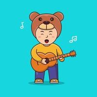 Cute Boy Playing guitar and singing  People Music Icon Concept Isolated Premium Vector Flat Cartoon Style