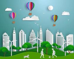 Concept of eco friendly save the world and environment paper art scene background with urban city green energy nature landscape vector