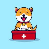 Cute dog with first aid kit box vector