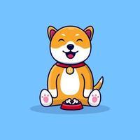 Cute Dog with doog food Kawaii Dog with Bone Animal Flat Cartoon Style vector