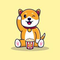 Cute little Dog with Popcorn vector