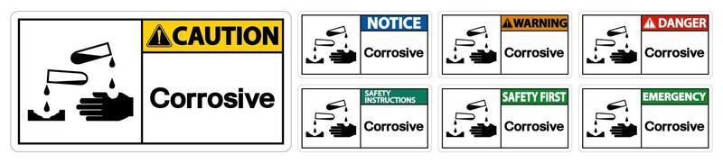 signo de símbolo corrosivo vector