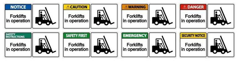 Forklifts in operation Symbol vector